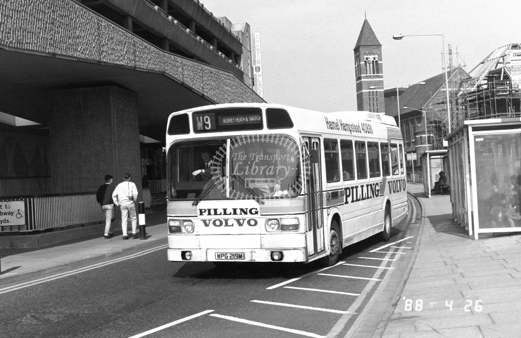 London Country North West Leyland National Class SNB SNB119  on route W9 WPG219M  at Watford   in 1988 - Russell Fell