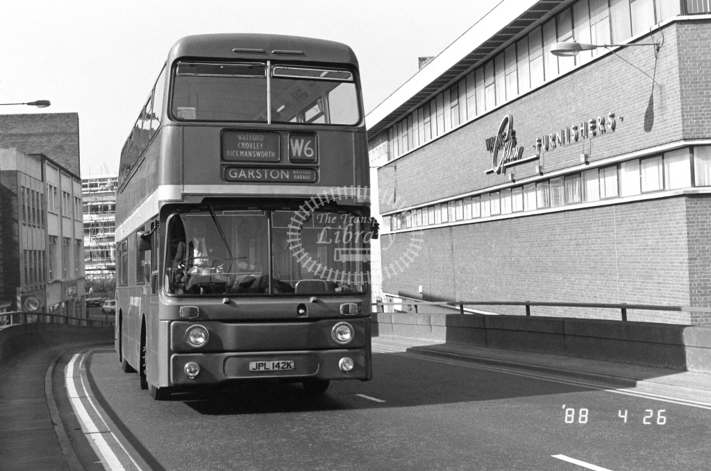 London Country North West Leyland Atlantean Class AN AN42  on route W6 JPL142K  at Watford   in 1988 - Russell Fell