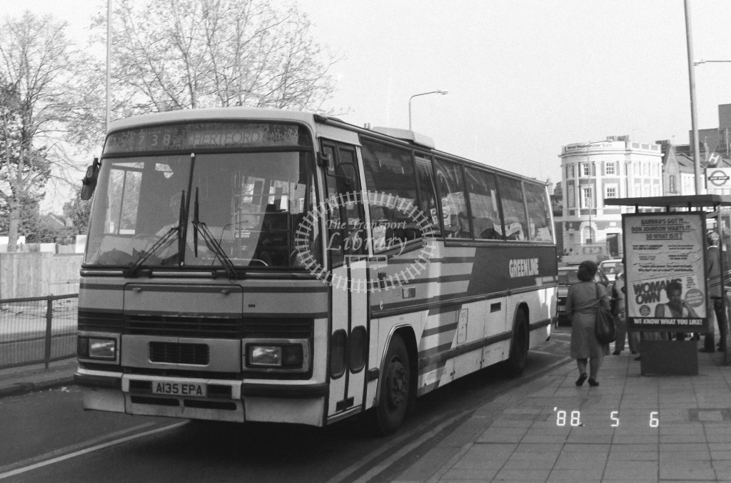 London Country North East Leyland Tiger Class TP TP35  on route 738 A135EPA  in 1988 - Russell Fell