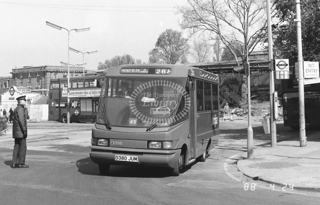 London Country North West Volkswagen LT55 Class MBV MBV50  on route 268 D380JUM  at Golders Green  in 1988 - Russell Fell