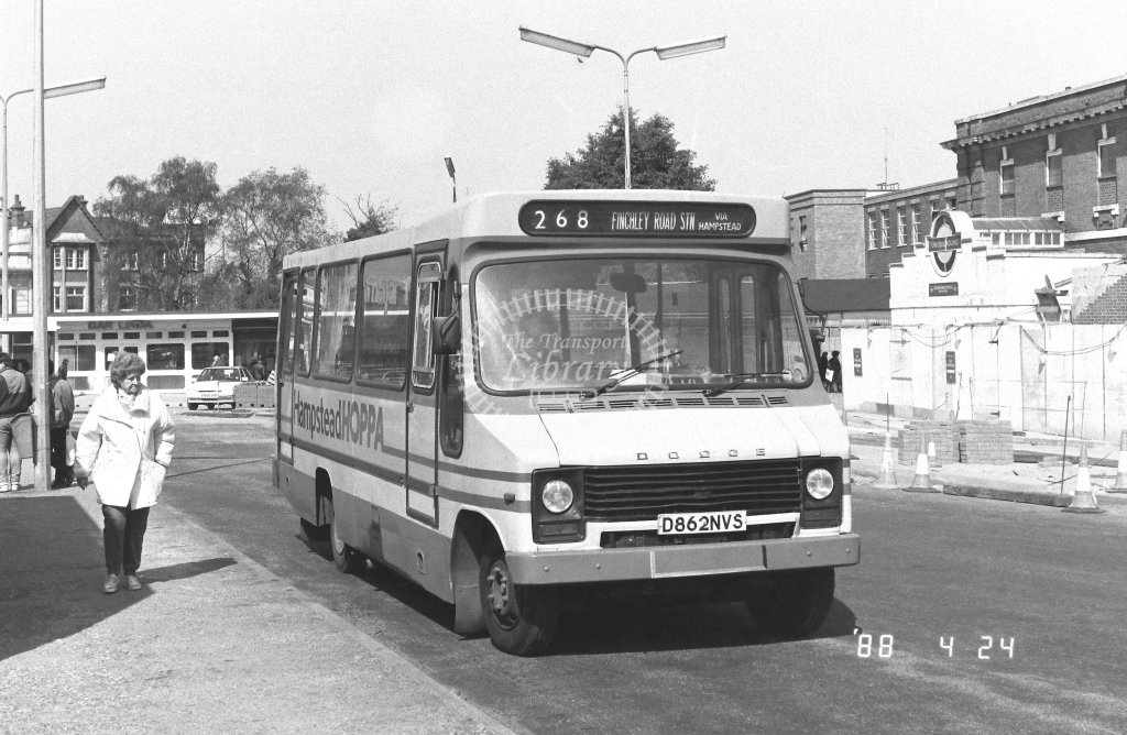 London Country North West Dodge S56 Class MBD MBD21  on route 268 D862NVS  at Golders Green  in 1988 - Russell Fell
