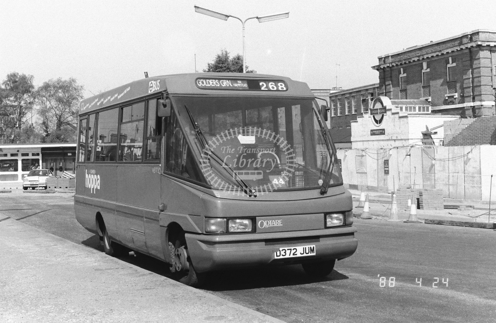 London Country North West Volkswagen LT55 Class MBV MBV48  on route 268 D372JUM  at Golders Green  in 1988 - Russell Fell