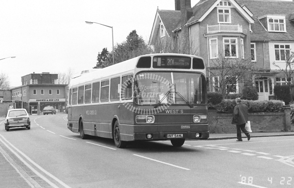 Wests Coaches Leyland National  on route 201 HVF544L  at Epping  in 1988 - Russell Fell