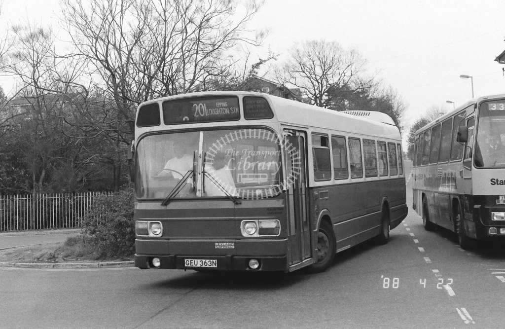 Wests Coaches Leyland National  on route 201 GEU363N  at Epping  in 1988 - Russell Fell