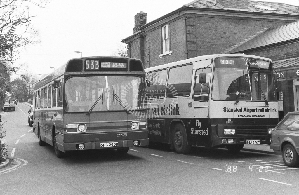 London Country North East Leyland National Class SNB SNB290  on route 533 SPC290R  at Epping  in 1988 - Russell Fell