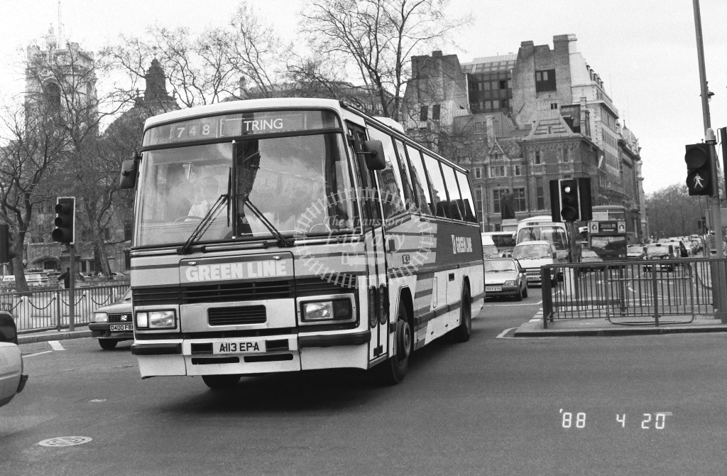 London Country North West Leyland Tiger Class TP TP13  on route 748 A113EPA  at Westminster  in 1988 - Russell Fell