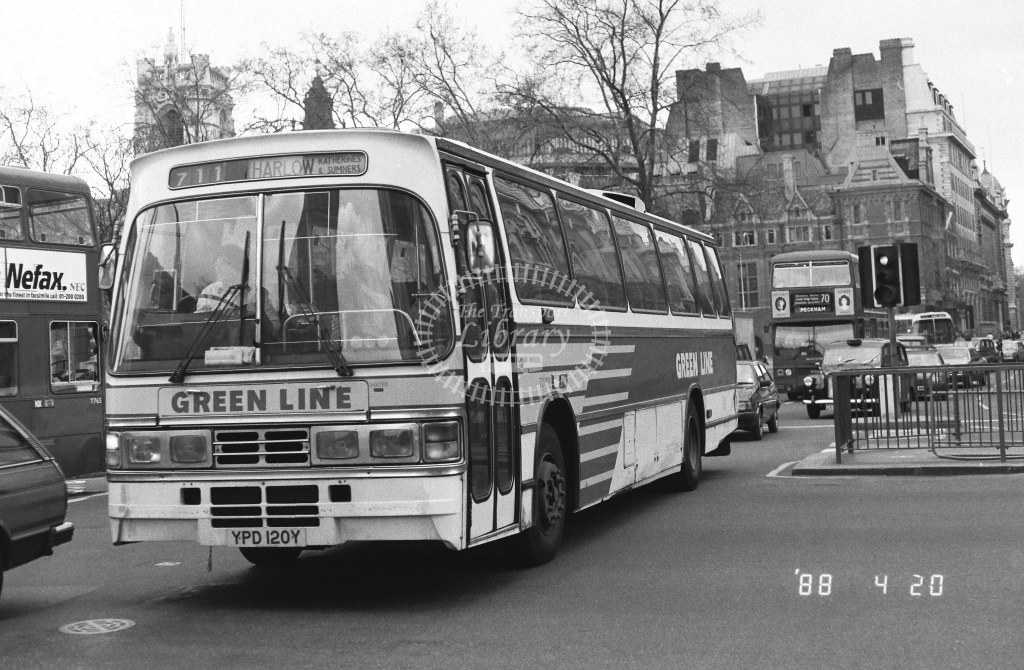 London Country North East Leyland Tiger Class TD TD20  on route 711 YPD120Y  at Westminster  in 1988 - Russell Fell