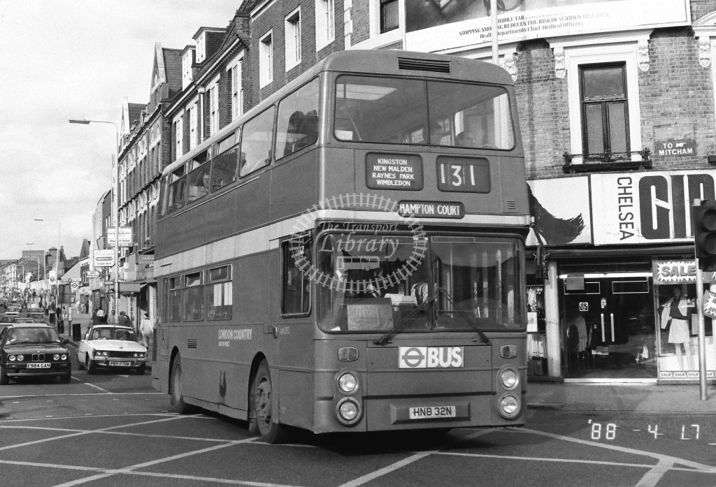 London Country South West Leyland Atlantean Class AN AN383  on route 131 HNB32N  at Tooting  in 1988 - Russell Fell