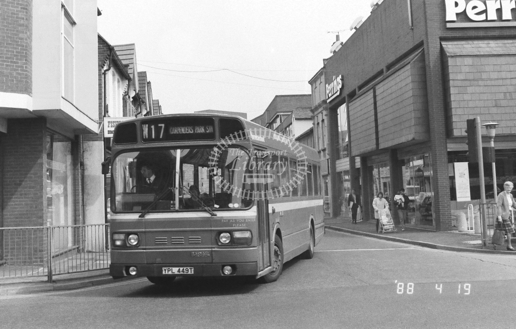 London Country North West Leyland National Class SNB SNB449  on route W17 YPL449T  at Watford   in 1988 - Russell Fell