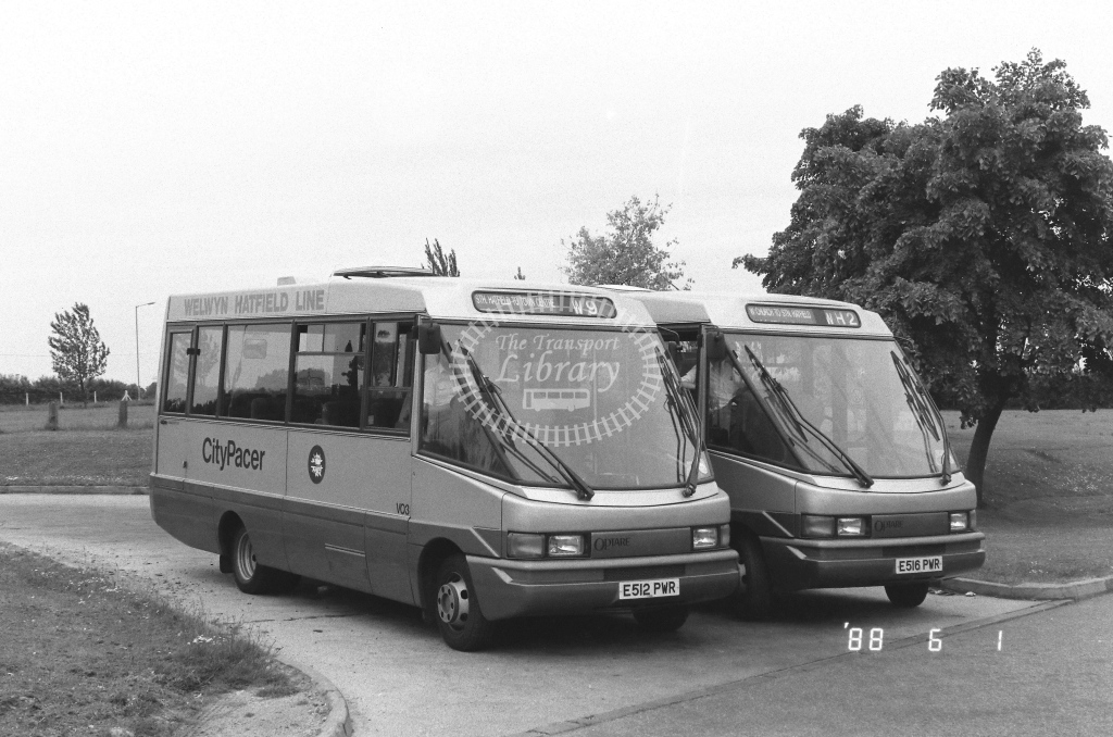 Welwyn Hatfield Line Volkswagen LT55 Class VO VO3  on route W9 E512PWR  at Hatfield   in 1988 - Russell Fell