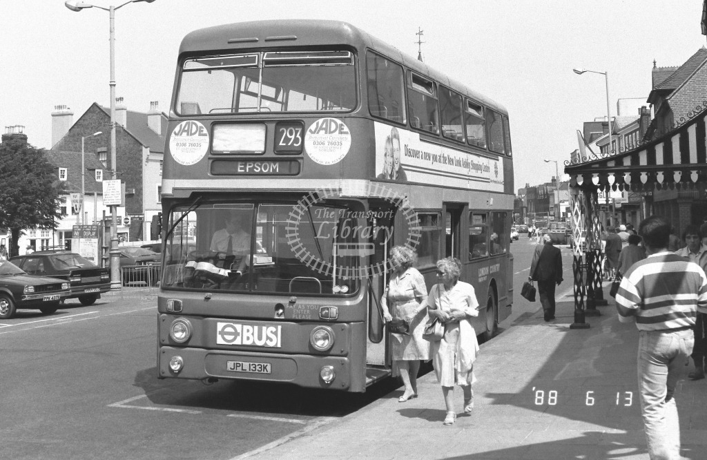 London Country South West Leyland Atlantean Class AN AN33  on route 293 FJPL133K  at Epsom  in 1988 - Russell Fell