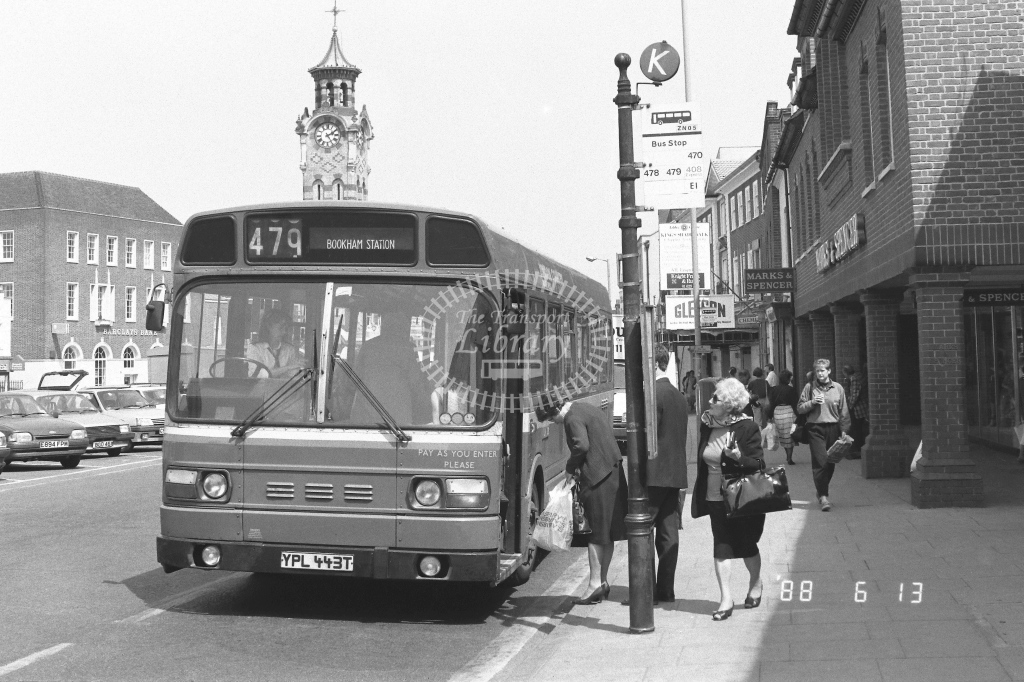 London Country South West Leyland Atlantean Class SNB SNB443  on route 479 YPL443T  at Epsom  in 1988 - Russell Fell