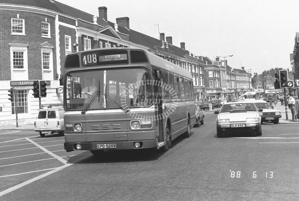 London Country South West Leyland Atlantean Class SNB SNB520  on route 408 EPD520V  at Epsom  in 1988 - Russell Fell