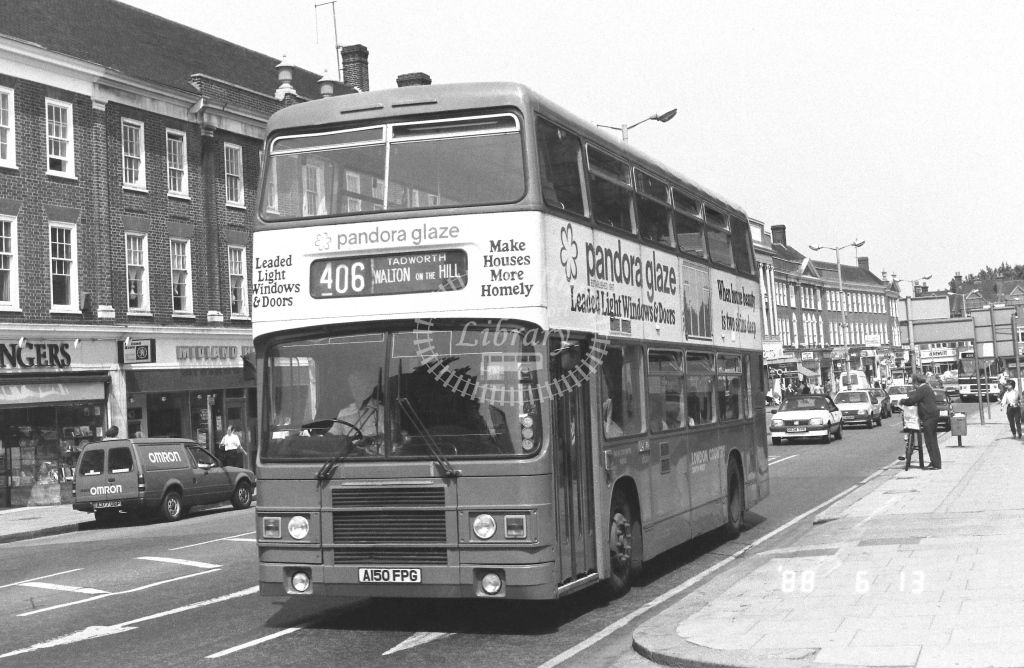 London Country South West Leyland Olympian Class LR LR50  on route 406 A150FPG  at Epsom  in 1988 - Russell Fell