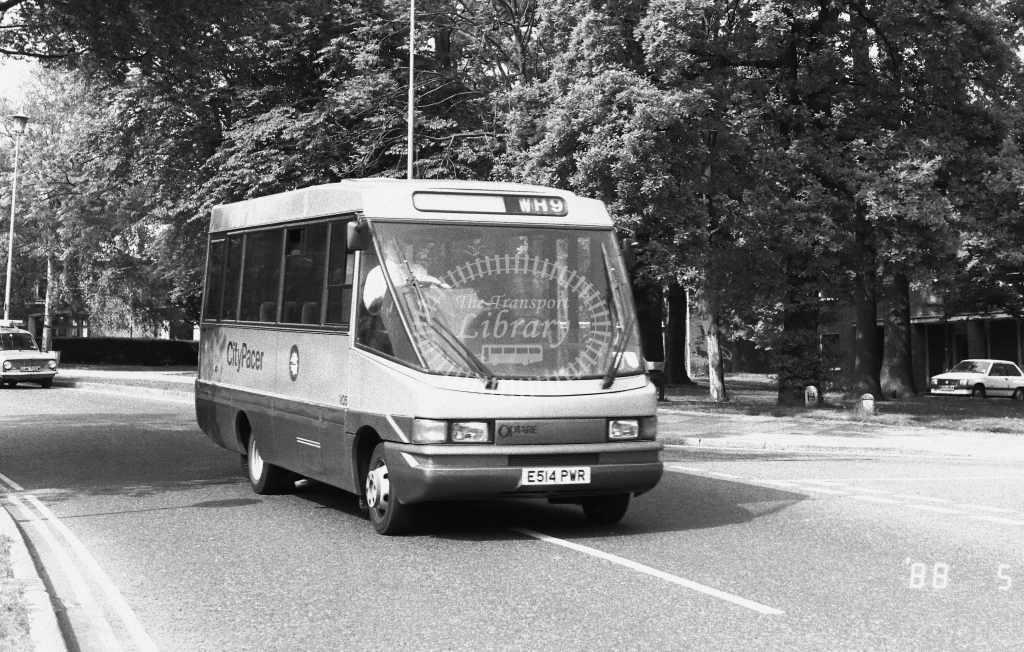 Welwyn Hatfield Line Volkswagen LT55 Class VO V05  on route WH9 E514PWR  at Welwyn Garden City  in 1988 - Russell Fell