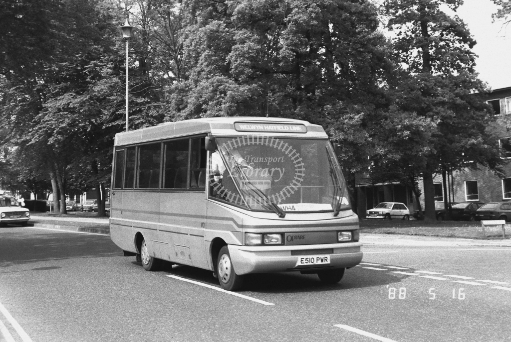 Welwyn Hatfield Line Volkswagen LT56 VO VO1  on route WH4 E510PWR  at Welwyn Garden City  in 1988 - Russell Fell