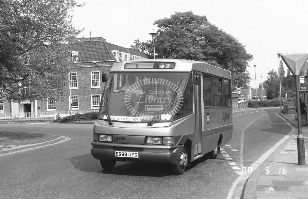 Welwyn Hatfield Line Volkswagen LT55 Class VO VO15  on route WH2 E999UYG  at Welwyn Garden City  in 1988 - Russell Fell