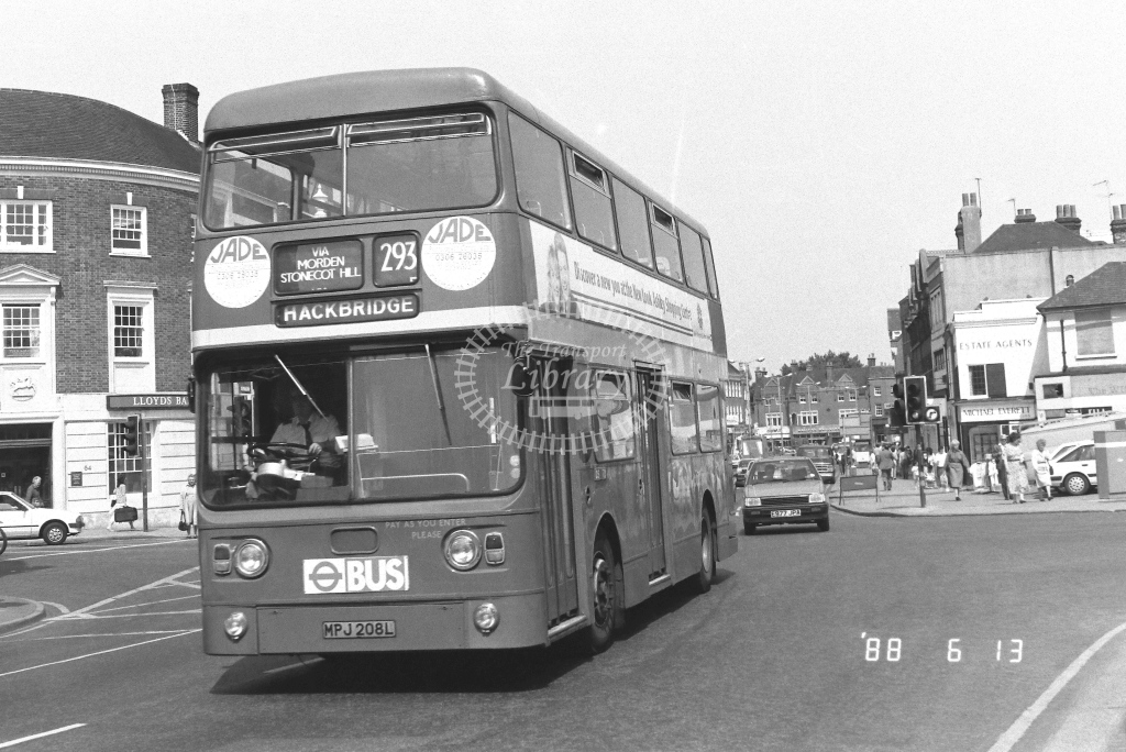 London Country South West Leyland Atlantean Class AN AN108  on route 293 MPJ208L  at Epsom  in 1988 - Russell Fell