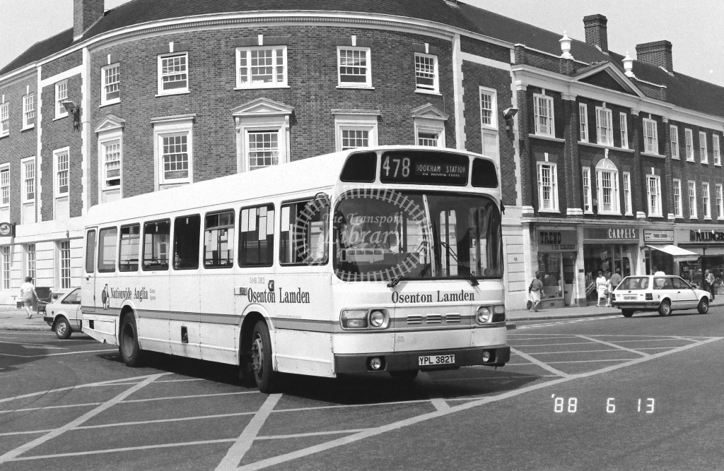 London Country South West Leyland National Class SMB SNB382  on route 478 YPL382T  at Epsom  in 1988 - Russell Fell