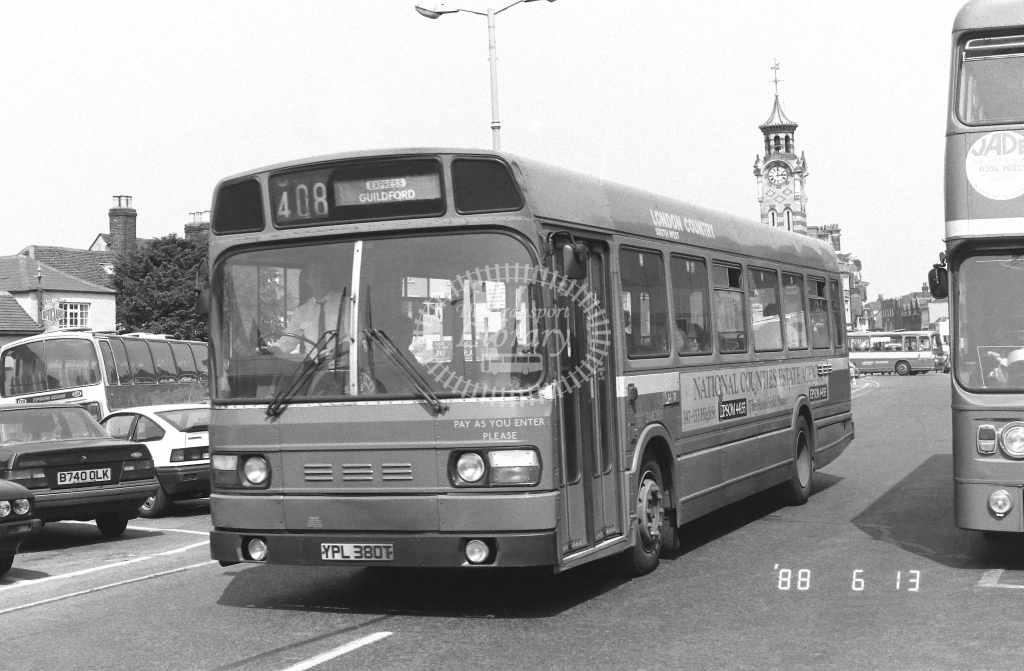 London Country South West Leyland National Class SNB SNB380  on route 408 YPL380T  at Epsom  in 1988 - Russell Fell