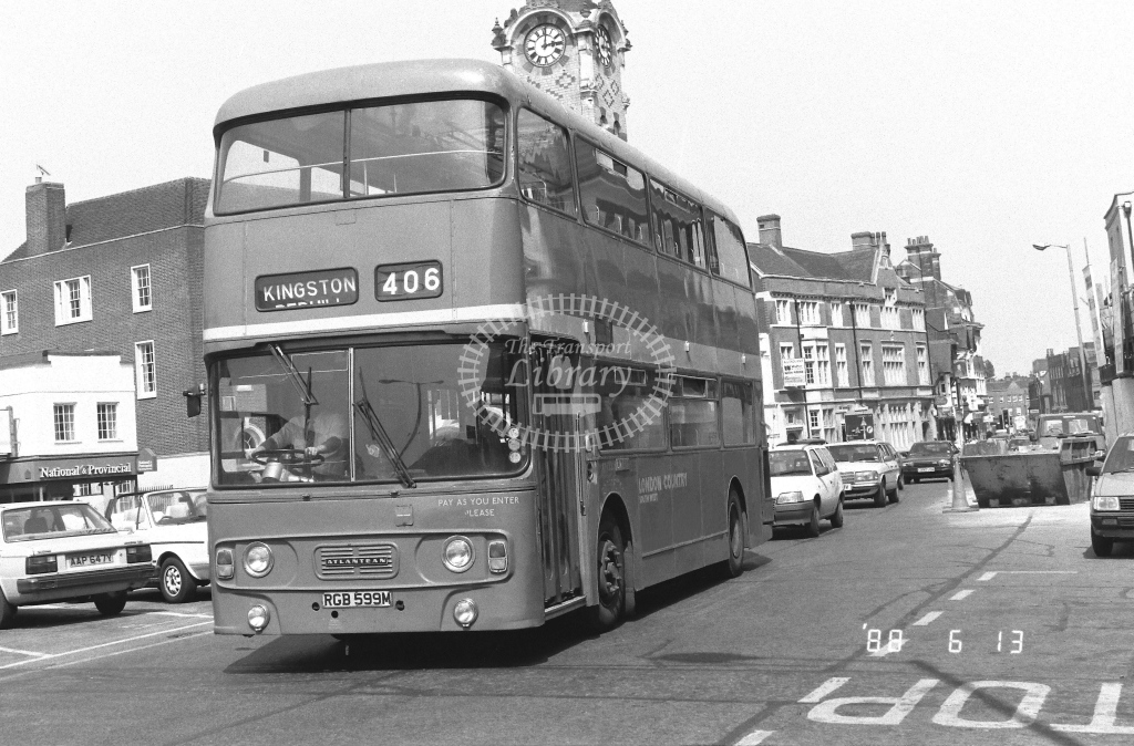 London Country South West Leyland Atlantean Class AN AN335  on route 406 RGB599M  at Epsom  in 1988 - Russell Fell