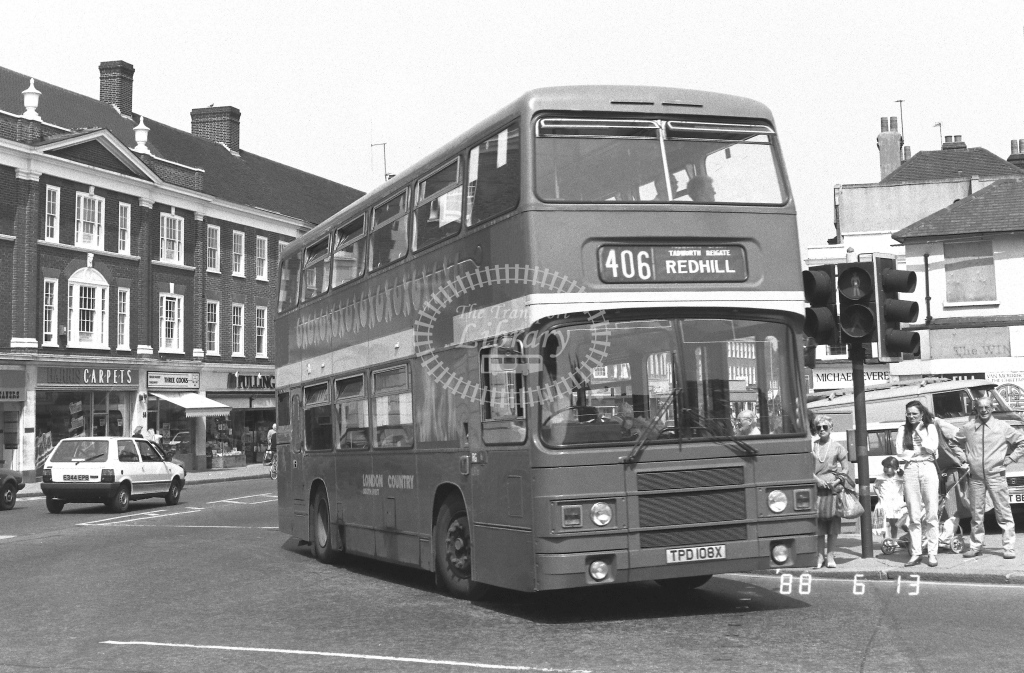 London Country South West Leyland Olympian Class LR LR8  on route 406 TPD108X  at Epsom  in 1988 - Russell Fell