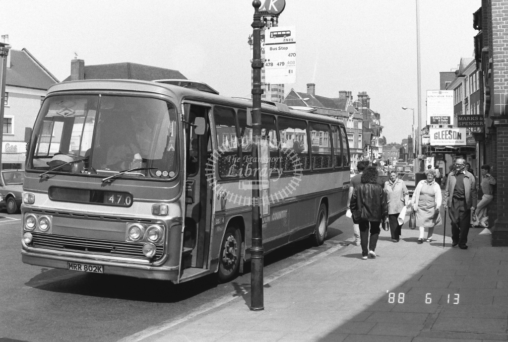 London Country South West AEC Reliance Class RN RN2  on route 470 MRR802K  at Epsom  in 1988 - Russell Fell