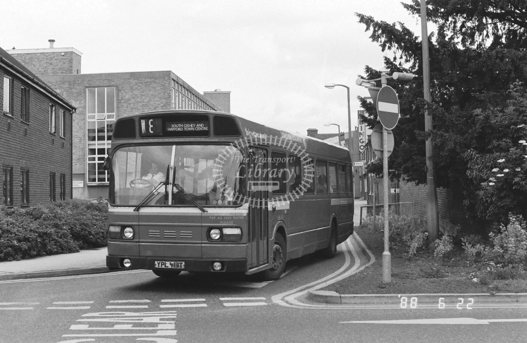London Country North West Leyland National Class SNB SNB413  on route W8 YPL413T  at Watford   in 1988 - Russell Fell