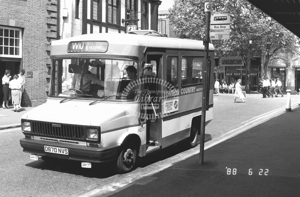 London Country North West Freight Rover Sherpa Class MBS MBS17  on route W10 D870NVS  at Watford   in 1988 - Russell Fell