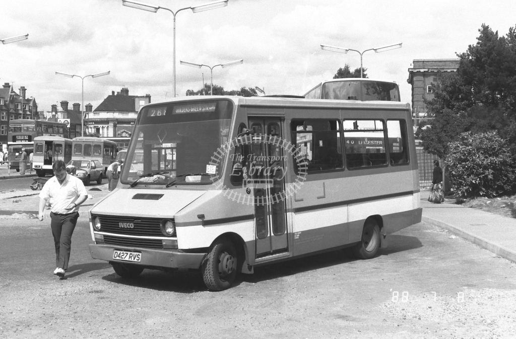 London Country North West Iveco Daily Class MBI MBI60  on route 268 D427RVS  at Golders Green  in 1988 - Russell Fell