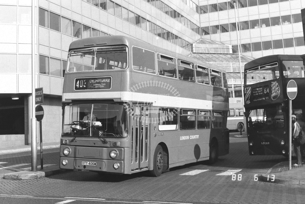 London Country South West Leyland Atlantean Class AN AN347  on route 403 OTY406M  at West Croydon  in 1988 - Russell Fell