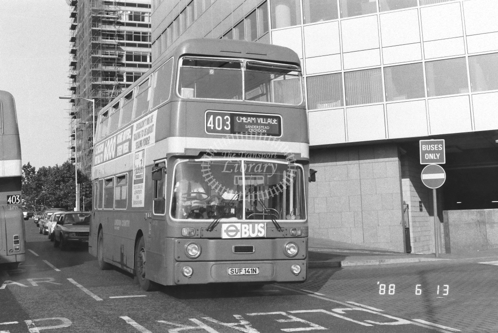 London Country South West Leyland Atlantean Class AN AN301  on route 403 SUF141N  at West Croydon  in 1988 - Russell Fell