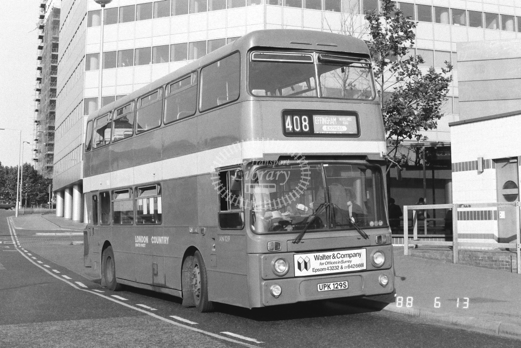London Country South West Leyland Atlantean Class AN AN129  on route 408 UPK129S  at West Croydon  in 1988 - Russell Fell
