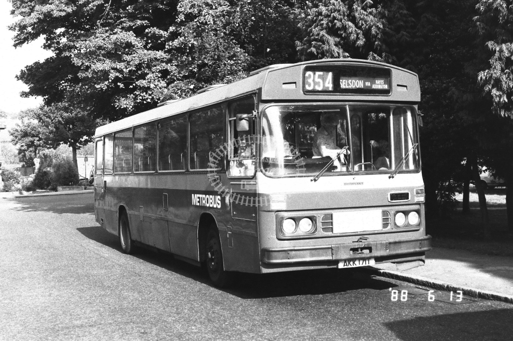 Metrobus Bedford YMT  on route 354 AKK171  at Selsdon  in 1988 - Russell Fell