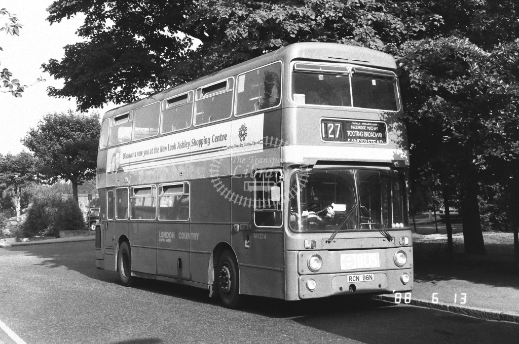 London Country South West Leyland Atlantean Class AN AN354  on route 127 RCN96N  at Selsdon  in 1988 - Russell Fell
