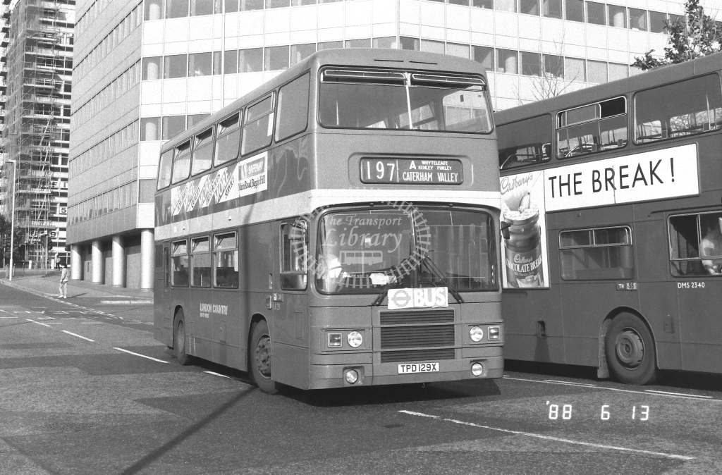 London Country South West Leyland Olympian Class LR LR29  on route 197A TPD129X  at West Croydon  in 1988 - Russell Fell