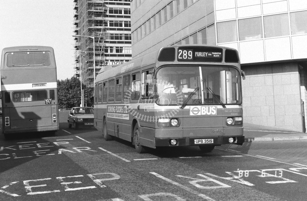 London Country South West Leyland National Class SNB SNB351  on route 289 UPB351S  at West Croydon  in 1988 - Russell Fell