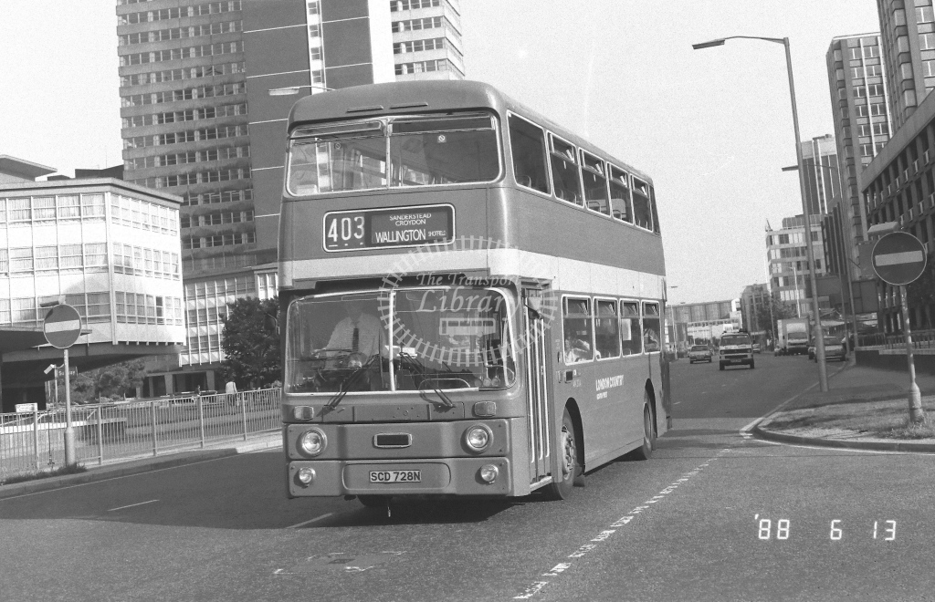 London Country South West Leyland Atlantean Class AN AN304  on route 403 SCD728N  at West Croydon  in 1988 - Russell Fell