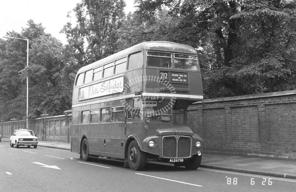 Private AEC Routemaster Class RM RM1975  on route 212 ALD975B  at Southall  in 1988 - Russell Fell