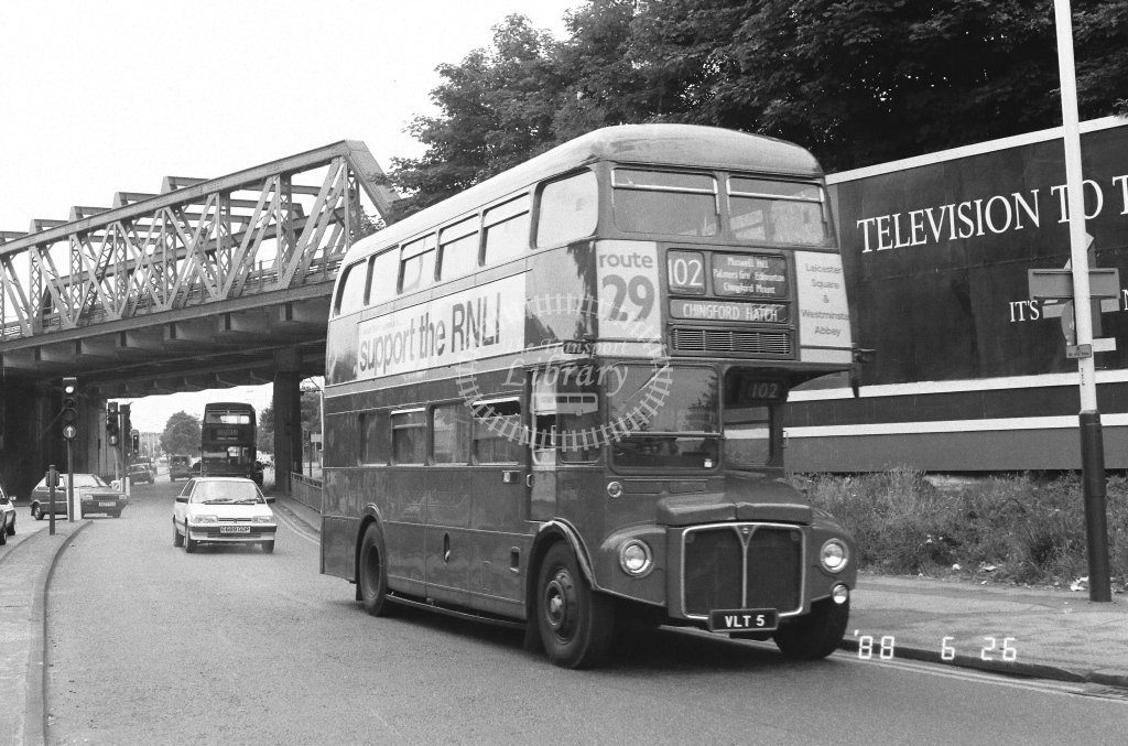 Private AEC Routemaster Class RM RM5  on route 102 VLT5  at Southall  in 1988 - Russell Fell