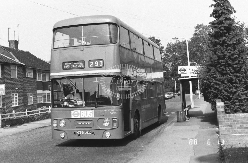 London Country South West Leyland Atlantean Class AN AN331  on route 293 OYS207M  at Hackbridge  in 1988 - Russell Fell