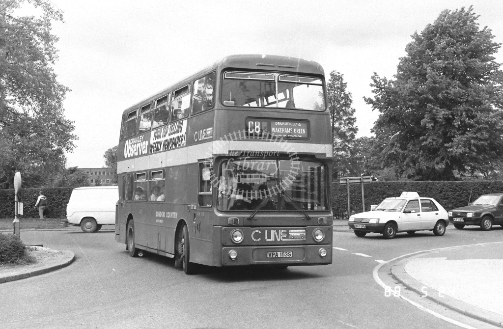 London Country South West Leyland Atlantean Class AN AN153  on route C8 VPA153S  at Crawley  in 1988 - Russell Fell
