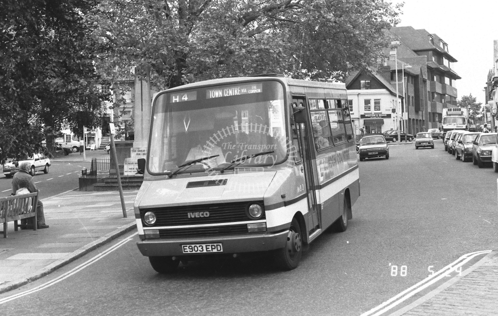 London Country South West Iveco Daily Class IMB IMB3  on route H4 E903EPD  at Horsham   in 1988 - Russell Fell