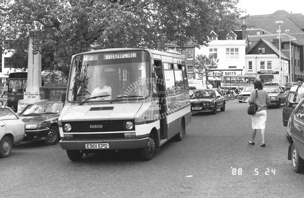 London Country South West Iveco Daily Class IMB IMB1  on route H2 E901EPD  at Horsham   in 1988 - Russell Fell