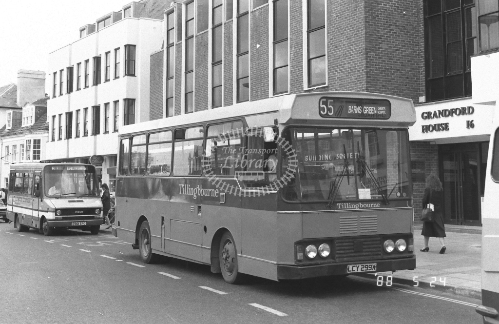Tillingbourne Bedford YMQ  on route 55 LCY299X  at Horsham   in 1988 - Russell Fell