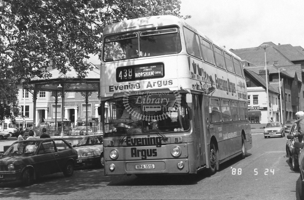 London Country South West Leyland Atlantean Class AN AN151  on route 438 VPA151S  at Horsham   in 1988 - Russell Fell