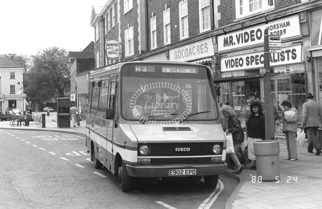 London Country South West Iveco Daily Class IMB IMB2  on route H3 E902EPD  at Horsham   in 1988 - Russell Fell