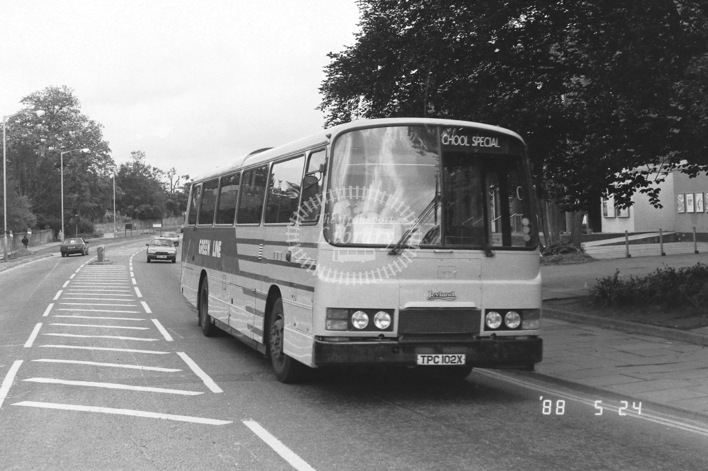 London Country South West Leyland Tiger Class TL TL2  on route School TPC102X  at Horsham   in 1988 - Russell Fell