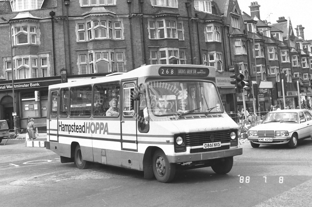 London Country North West Dodge S56 Class MBD MBD20  on route 268 D861NVS  at Golders Green  in 1988 - Russell Fell