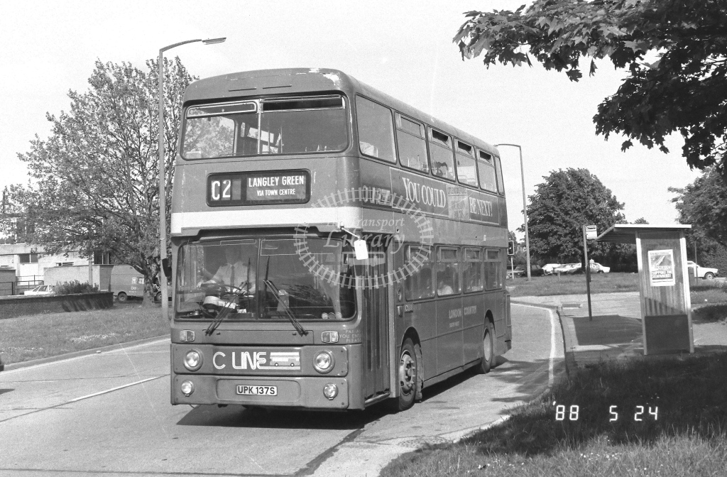 London Country South West Leyland Atlantean Class AN AN137  on route C2 UPK137S  at Crawley  in 1988 - Russell Fell